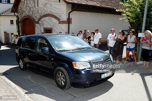 Samuel Koch arrives for his wedding with Sarah Elena Timpe at the local church on August 27 2016 in Mappach near EfringenKirchen Germany