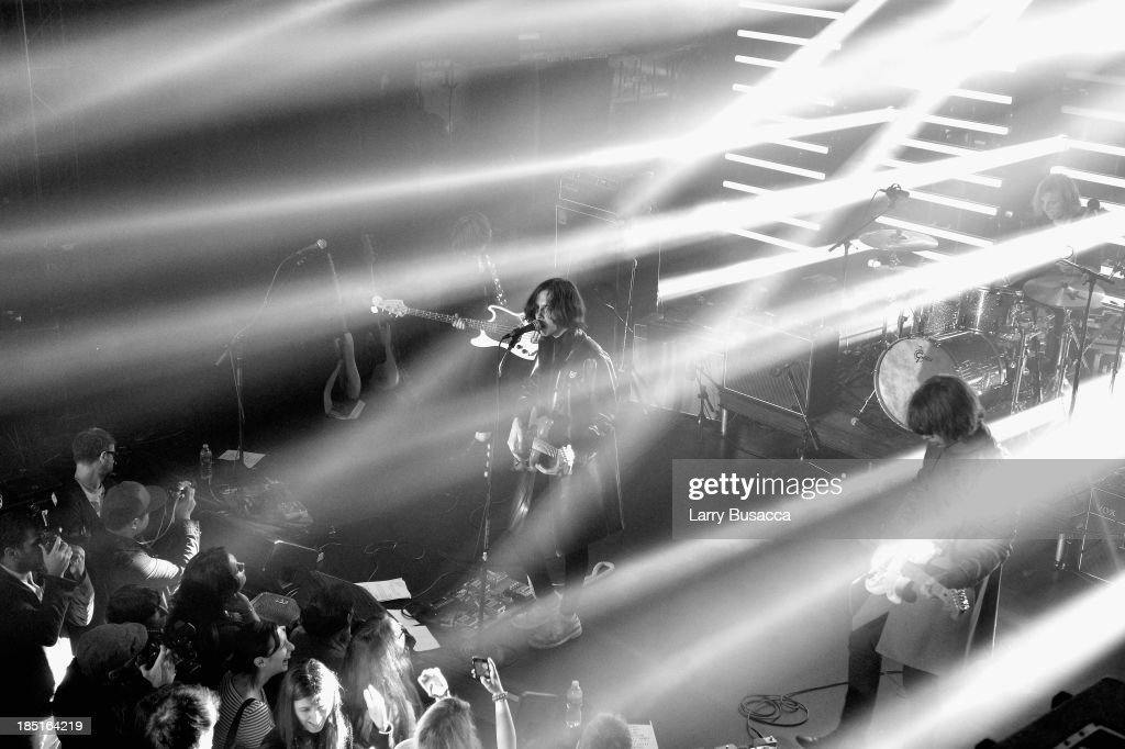 Samuel Koisser, Harry Koisser, Dominic Boyce, and Douglas Castle of the band Peace perform at the Burberry Brit Rhythm Men's Launch in New York at Irving Plaza on October 17, 2013 in New York City.