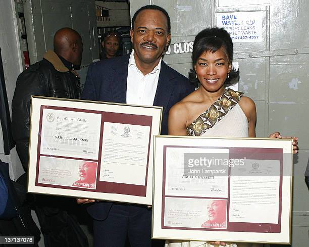 Samuel L Jackson and Angela Bassett attend Broadway's The Mountaintop City Proclamation ceremony in honor of Martin Luther King Jr day at The Bernard...