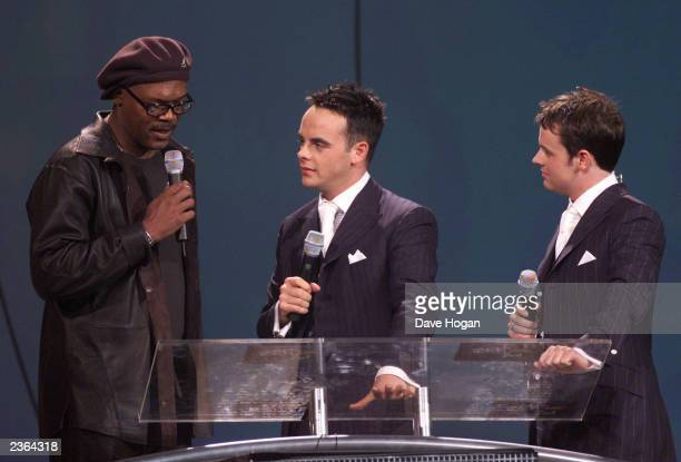 Samuel L Jackson and ant dec at The Brit Awards at Earls Court 2 Exhibition Centre in London on 26/2/01 Photo by Dave Hogan/MP/Getty Images