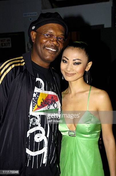 Samuel L Jackson and Bai Ling during Spike TV's 2nd Annual Video Game Awards 2004 Backstage at Barker Hangar in Santa Monica California United States