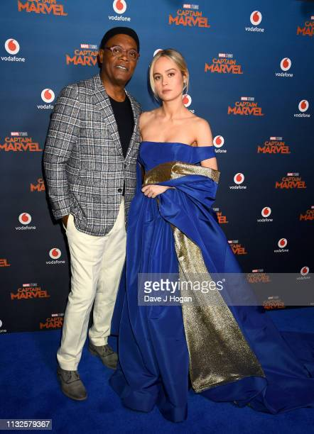Samuel L Jackson and Brie Larson attend the Captain Marvel European Gala held at The Curzon Mayfair on February 27 2019 in London England