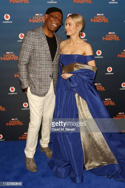 Samuel L Jackson and Brie Larson attend the European Gala screening of Captain Marvel at The Curzon Mayfair on February 27 2019 in London England
