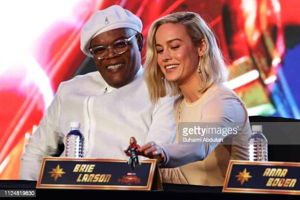 Samuel L Jackson and Brie Larson attend the press conference for 'Captain Marvel' at Marina Bay Sands Expo and Convention Centre on February 14 2019...