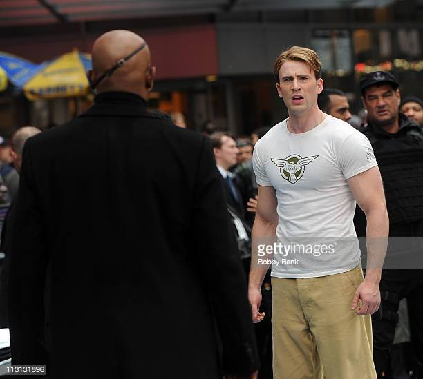 Samuel L Jackson and Chris Evans filming on location for Captain America The First Avenger on the streets of Manhattan on April 23 2011 in New York...