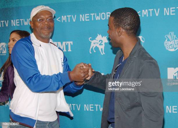 Samuel L. Jackson and Chris Rock during 2005/2006 MTV Networks UpFront at The Theatre at Madison Square Garden in New York City, New york, United...