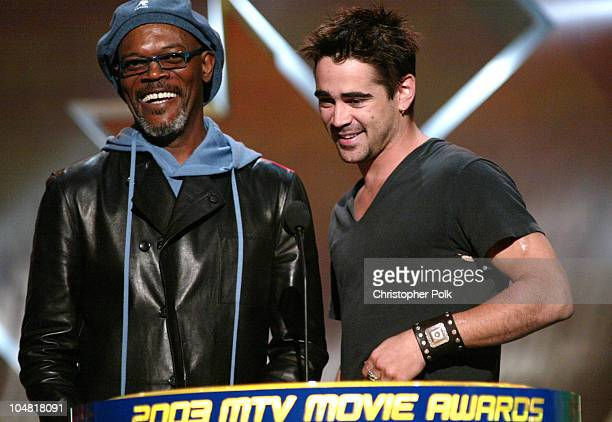 Samuel L Jackson and Colin Farrell during 2003 MTV Movie Awards Show at The Shrine Auditorium in Los Angeles California United States