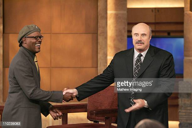 Samuel L Jackson and Dr Phil during Samuel L Jackson Visits the 'Dr Phil' Show January 6 2005 at Paramount Studios in Los Angeles California United...