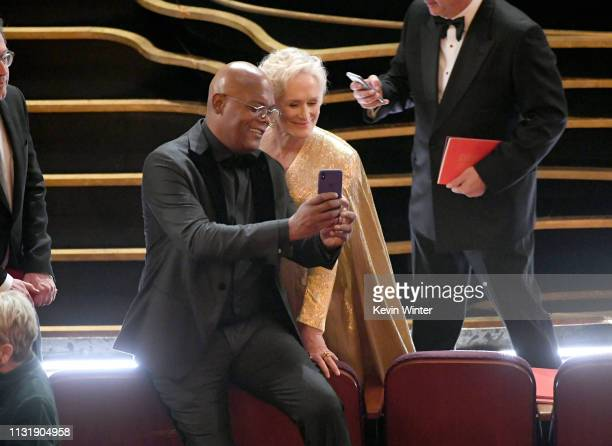 Samuel L Jackson and Glenn Close pose for a selfie photo during the 91st Annual Academy Awards at Dolby Theatre on February 24 2019 in Hollywood...
