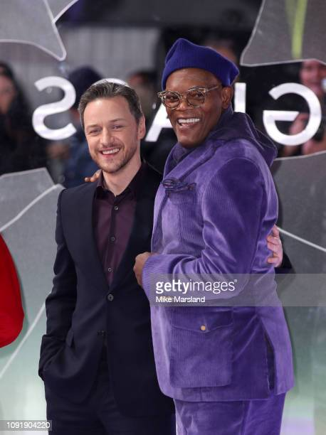 """Samuel L Jackson and James McAvoy attend the UK Premiere of """"Glass"""" at The Curzon Mayfair on January 09, 2019 in London, England."""