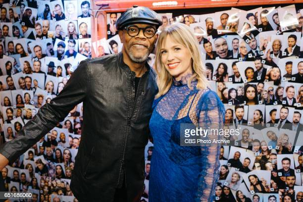 Samuel L Jackson and January Jones backstage on 'The Late Late Show with James Corden' Wednesday March 8 2017 On The CBS Television Network