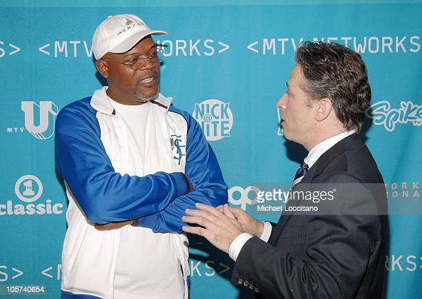 Samuel L. Jackson and Jon Stewart during 2005/2006 MTV Networks UpFront at The Theatre at Madison Square Garden in New York City, New york, United...