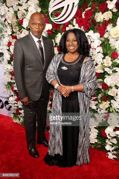 Samuel L Jackson and LaTanya Richardson attend the American Theatre Wing Centennial Gala at Cipriani 42nd Street on Septembe