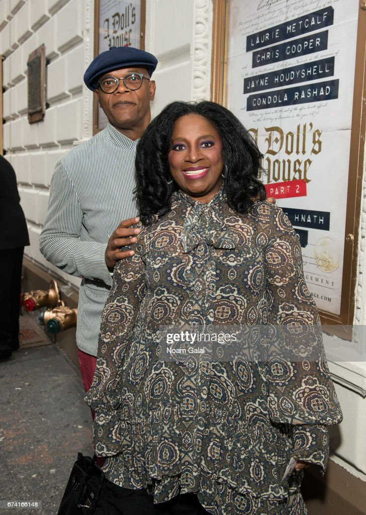 Samuel L. Jackson and LaTanya Richardson attend the opening night on Broadway of Lucas Hnath's 'A Doll's House, Part 2' starring Laurie Metcalf and Chris Cooper at Golden Theatre on April 27, 2017 in New York City.