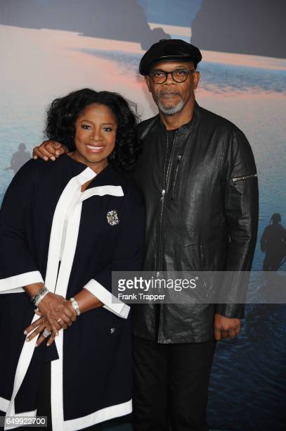 Samuel L Jackson and LaTanya Richardson attend the premiere of Warner Bros Pictures' 'Kong Skull Island' at Dolby Theatre on March 8 2017 in...