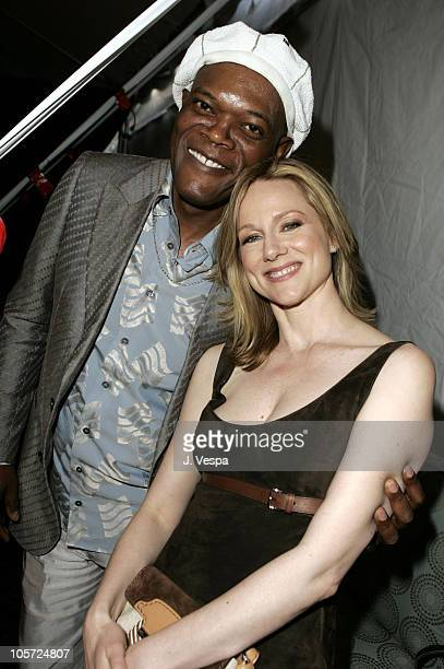 Samuel L Jackson and Laura Linney during The 20th Annual IFP Independent Spirit Awards Green Room in Santa Monica California United States