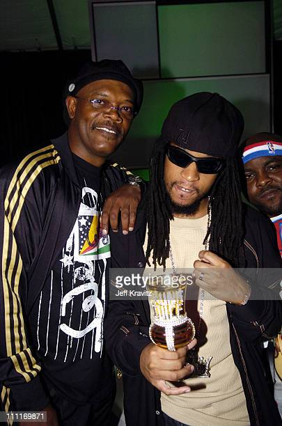 Samuel L Jackson and Lil' Jon during Spike TV's 2nd Annual Video Game Awards 2004 Backstage at Barker Hangar in Santa Monica California United States