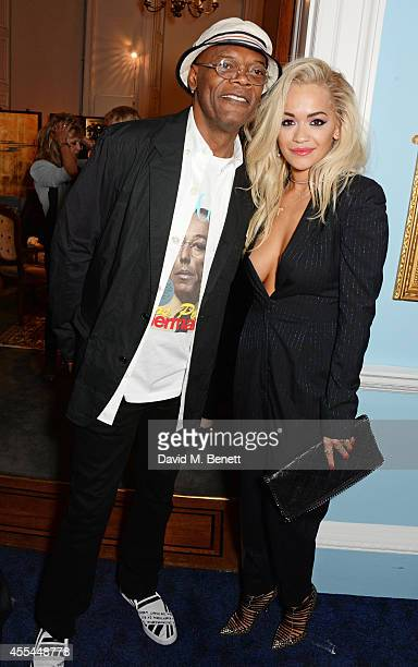 Samuel L Jackson and Rita Ora attend The London 2014 Stella McCartney Green Carpet Collection during London Fashion Week at The Royal British...