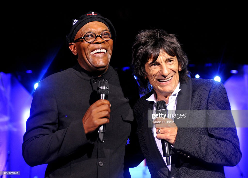 Samuel L Jackson and Ronnie Wood attend the FitFlop Shooting Stars Benefit Closing Ball following a two-day golf tournament raising vital funds for Make-A-Wish Foundation UK at the Royal Courts of Justice on August 5, 2011 in London, England.