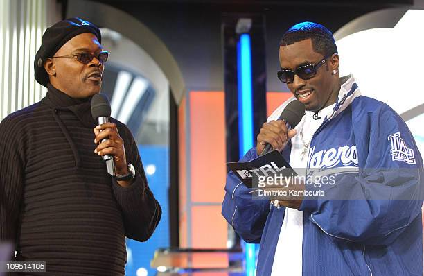 Samuel L Jackson and Sean 'P Diddy' Combs during Sean 'P Diddy' Combs Hosts MTV's 'TRL' October 18 2002 at MTV Studios Times Square in New York City...