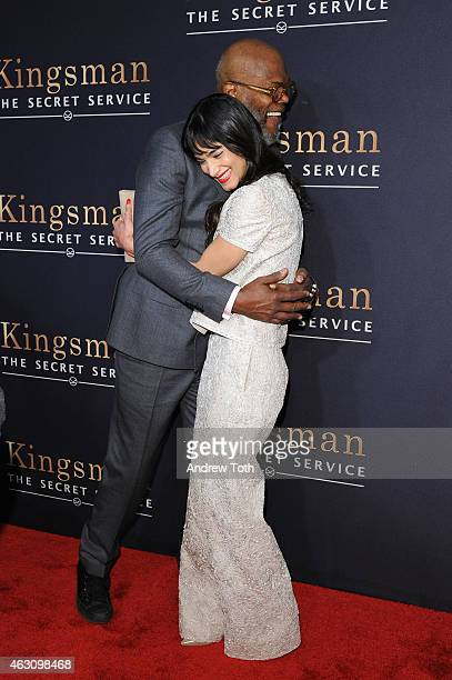 Samuel L Jackson and Sofia Boutella attend the 'Kingsman The Secret Service' New York premiere at SVA Theater on February 9 2015 in New York City