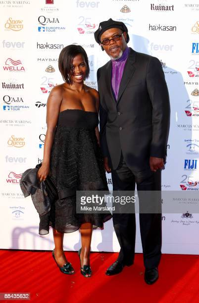 Samuel L Jackson and Sophie Davis attends the Shooting Stars in Desert Nights Charity Benefit at The Hurlingham Club on June 11 2009 in London England