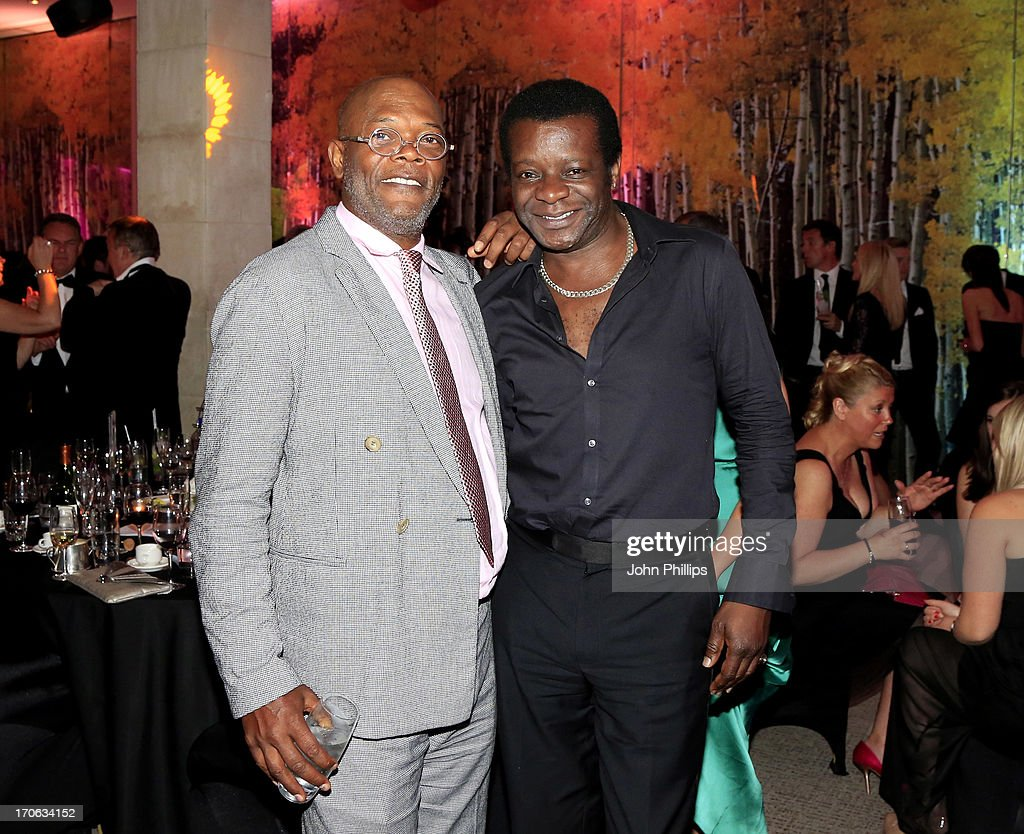Samuel L Jackson and Stephen K. Amos during the Affinity Real Estate Shooting Stars Benefit Gala Ball at The Grove Hotel on June 15, 2013 in Hertford, England.