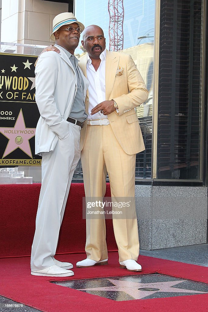 Samuel L. Jackson and Steve Harvey attend the ceremony honoring Steve Harvey with a Star on The Hollywood Walk of Fame held on May 13, 2013 in Hollywood, California.