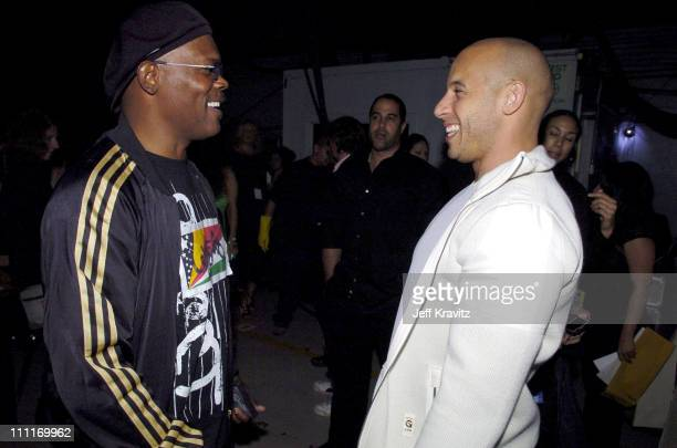 Samuel L Jackson and Vin Diesel during Spike TV's 2nd Annual Video Game Awards 2004 Backstage at Barker Hangar in Santa Monica California United...