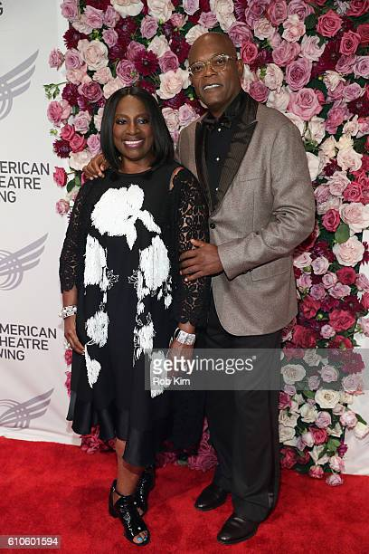 Samuel L Jackson and wife LaTanya Richardson attend the 2016 American Theatre Wing Gala honoring Cicely Tyson at The Plaza Hotel on September 26 2016...