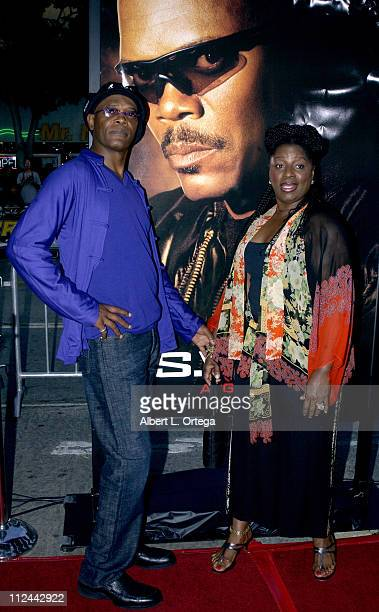 Samuel L Jackson and wife LaTanya Richardson during 'SWAT' Premiere at Mann Village Theatre in Westwood California United States