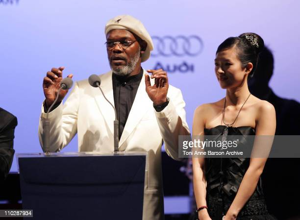Samuel L. Jackson and Ziyi Zhang during amfAR's Cinema Against AIDS Benefit in Cannes, Presented by Bold Films, Palisades Pictures and The Weinstein...