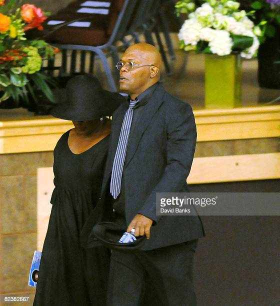 Samuel L Jackson arrives at a memorial service for Bernie Mac at the The House of Hope Church on August 16 2008 in Chicago Illinois