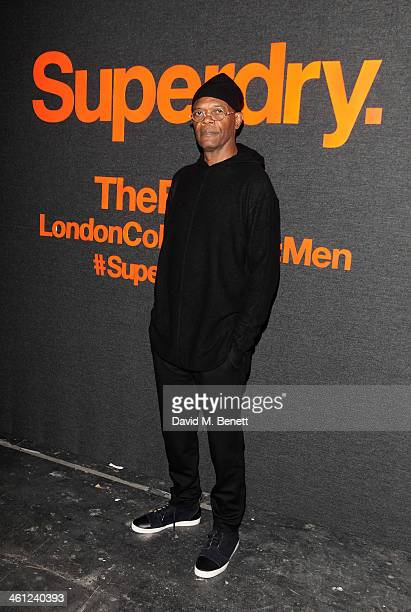Samuel L Jackson arrives at the Superdry AW14 catwalk event as part of London Collections Men at The Old Sorting Office on January 7 2014 in London...