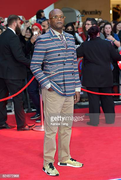 Samuel L Jackson arrives for the European film premiere of 'Captain America Civil War' at Vue Westfield on April 26 2016 in London England