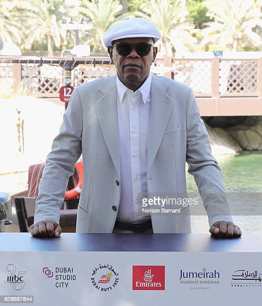 Samuel L Jackson attends a photocall during day three of the 13th annual Dubai International Film Festival held at the Madinat Jumeriah Complex on...