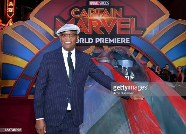 Samuel L Jackson attends Marvel Studios Captain Marvel Premiere on March 04 2019 in Hollywood California