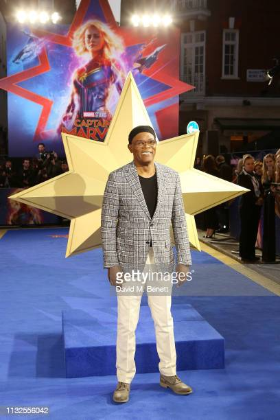"""Samuel L. Jackson attends the European Gala screening of """"Captain Marvel"""" at The Curzon Mayfair on February 27, 2019 in London, England."""