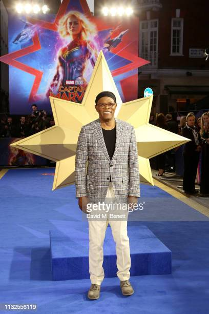 Samuel L Jackson attends the European Gala screening of Captain Marvel at The Curzon Mayfair on February 27 2019 in London England