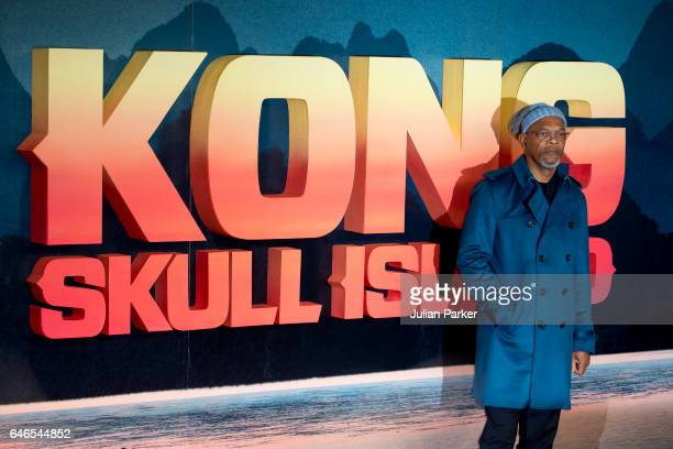 Samuel L Jackson attends the European premiere of 'Kong Skull Island' at the Cineworld Empire Leicester Square on February 28 2017 in London United...