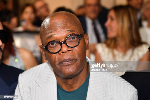 Samuel L Jackson attends the Giorgio Armani fashion show during the Milan Men's Fashion Week Spring/Summer 2020 on June 17 2019 in Milan Italy