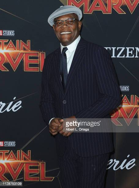 Samuel L Jackson attends the Marvel Studios Captain Marvel Premiere held on March 4 2019 in Hollywood California