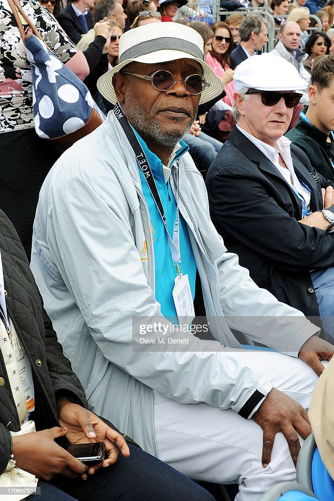 Samuel L. Jackson (C) attends The Moet & Chandon Suite at The Aegon Championships Queens Club finals on June 16, 2013 in London, England.