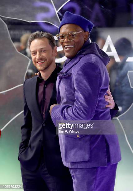 Samuel L Jackson attends the UK Premiere of M Night Shyamalan's allnew comicbook thriller Glass at Curzon Cinema Mayfair on January 9 2019 in London...