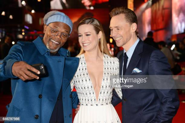 Samuel L Jackson Brie Larson and Tom Hiddleston attend the European premiere of Kong Skull Island on February 28 2017 in London England