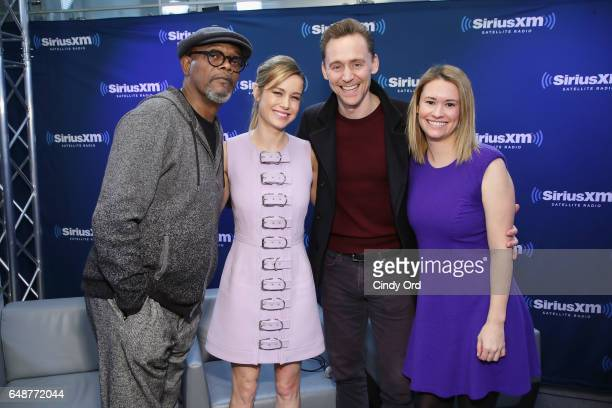 Samuel L Jackson Brie Larson Tom Hiddleston and Julie Cunningham attend SiriusXM's 'Town Hall' with the cast of 'Kong Skull Island' town hall to air...