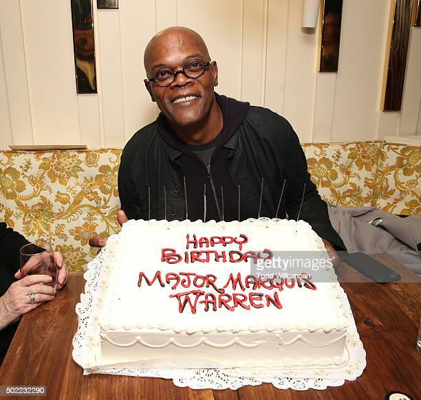 Samuel L Jackson celebrates his birthday at an event To Celebrate Quentin Tarantino And The Cast Filmmakers Of The Hateful Eight at The Nice Guy on...