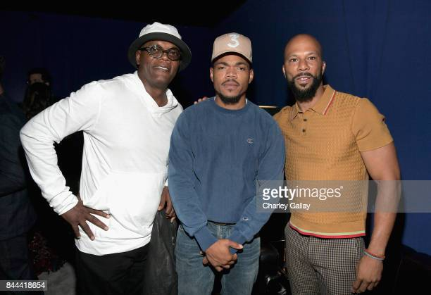 Samuel L Jackson Chance The Rapper and Common attend XQ Super School Live presented by EIF at Barker Hangar on September 8 2017 in Santa California