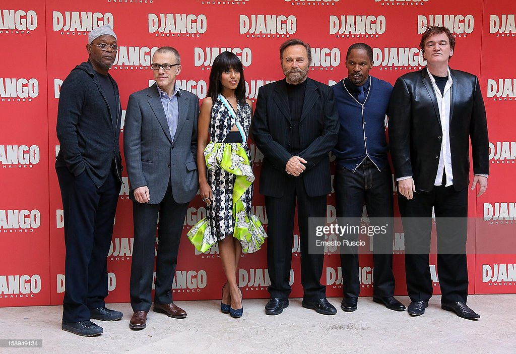 Samuel L. Jackson, Christoph Waltz, Karry Washington, Franco Nero, Jamie Foxx and Quentin Tarantino attend the 'Django Unchained' photocall at the Hassler Hotel on January 4, 2013 in Rome, Italy.