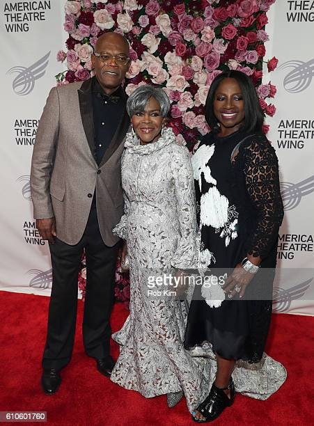 Samuel L Jackson Cicely Tyson and LaTanya Richardson attend the 2016 American Theatre Wing Gala honoring Cicely Tyson at The Plaza Hotel on September...